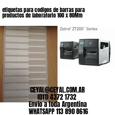 etiquetas para codigos de barras para productos de laboratorio 100 x 80Mm
